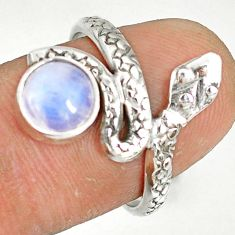 2.78cts natural rainbow moonstone 925 sterling silver snake ring size 7 r78660