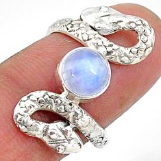 2.72cts natural rainbow moonstone 925 sterling silver snake ring size 7 t11099