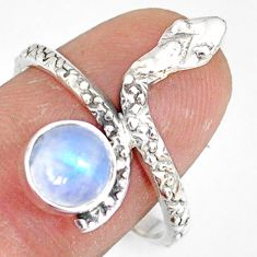 2.78cts natural rainbow moonstone 925 sterling silver snake ring size 9 r78678