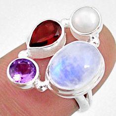 9.61cts natural rainbow moonstone amethyst garnet 925 silver ring size 6 r63977
