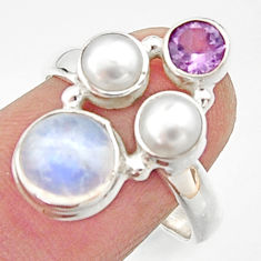 5.56cts natural rainbow moonstone amethyst pearl 925 silver ring size 8.5 r22969