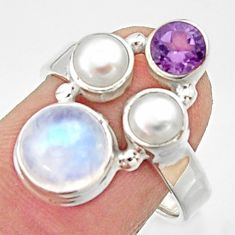 5.52cts natural rainbow moonstone amethyst pearl 925 silver ring size 7.5 r22973