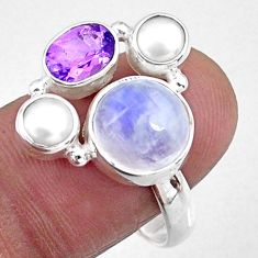 6.02cts natural rainbow moonstone amethyst pearl 925 silver ring size 9.5 r57615