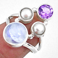 6.31cts natural rainbow moonstone amethyst pearl 925 silver ring size 6.5 r57618