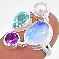 9.57cts natural rainbow moonstone amethyst pearl 925 silver ring size 6.5 r63907