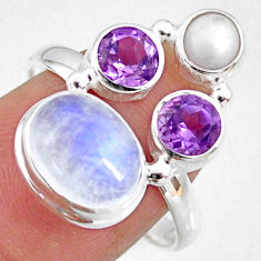 8.47cts natural rainbow moonstone amethyst pearl 925 silver ring size 8.5 r63933