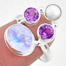 8.67cts natural rainbow moonstone amethyst pearl 925 silver ring size 7.5 r63939