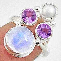 8.51cts natural rainbow moonstone amethyst pearl 925 silver ring size 6.5 r63946