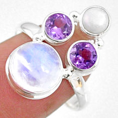 8.91cts natural rainbow moonstone amethyst pearl 925 silver ring size 8.5 r63978