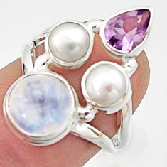 6.31cts natural rainbow moonstone amethyst pearl 925 silver ring size 6 r22975