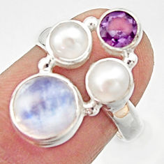 5.52cts natural rainbow moonstone amethyst pearl 925 silver ring size 6 r22977