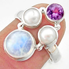 6.04cts natural rainbow moonstone amethyst pearl 925 silver ring size 7 r22965