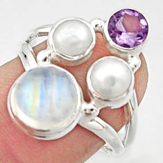 6.31cts natural rainbow moonstone amethyst pearl 925 silver ring size 7 r22976
