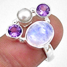 6.02cts natural rainbow moonstone amethyst pearl 925 silver ring size 7 r57640