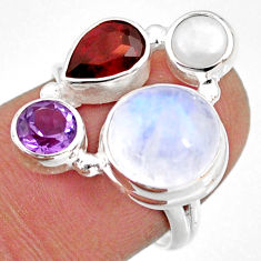 9.98cts natural rainbow moonstone amethyst pearl 925 silver ring size 7 r63920
