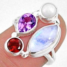 9.18cts natural rainbow moonstone amethyst pearl 925 silver ring size 7 r63929