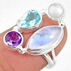 9.18cts natural rainbow moonstone amethyst pearl 925 silver ring size 7 r63936