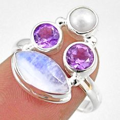 8.73cts natural rainbow moonstone amethyst pearl 925 silver ring size 7 r63956