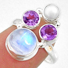 8.71cts natural rainbow moonstone amethyst pearl 925 silver ring size 7 r63957