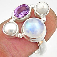 6.04cts natural rainbow moonstone amethyst pearl 925 silver ring size 8 r22962