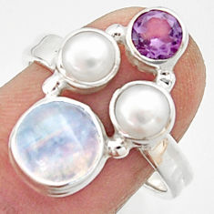 5.53cts natural rainbow moonstone amethyst pearl 925 silver ring size 8 r22967