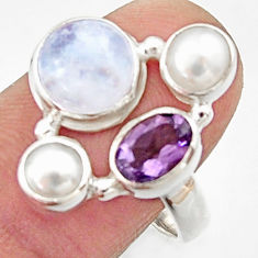 6.04cts natural rainbow moonstone amethyst pearl 925 silver ring size 8 r22970