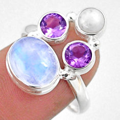 8.06cts natural rainbow moonstone amethyst pearl 925 silver ring size 8 r63914