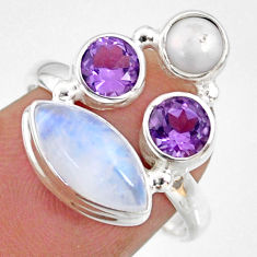 8.04cts natural rainbow moonstone amethyst pearl 925 silver ring size 8 r63935
