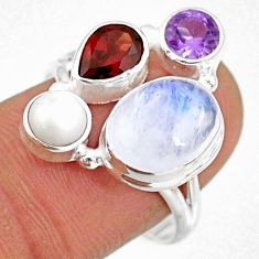 10.02cts natural rainbow moonstone amethyst pearl 925 silver ring size 8 r63943