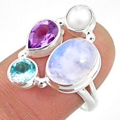 9.25cts natural rainbow moonstone amethyst pearl 925 silver ring size 8 r63980