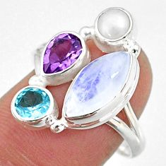 9.61cts natural rainbow moonstone amethyst pearl 925 silver ring size 9 r63901