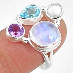 9.98cts natural rainbow moonstone amethyst pearl 925 silver ring size 9 r63945