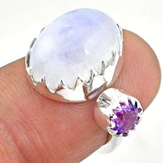 6.85cts natural rainbow moonstone amethyst silver adjustable ring size 4 t43534