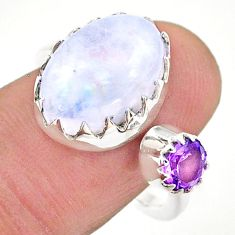 7.24cts natural rainbow moonstone amethyst silver adjustable ring size 8 t43511