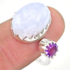 7.85cts natural rainbow moonstone amethyst silver adjustable ring size 8 t43517