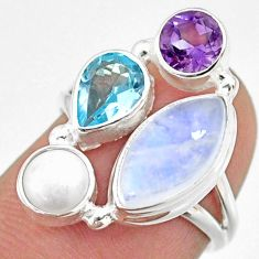 9.53cts natural rainbow moonstone amethyst topaz 925 silver ring size 6 r63971