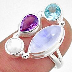 9.53cts natural rainbow moonstone amethyst topaz 925 silver ring size 7 r63905