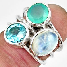 7.54cts natural rainbow moonstone chalcedony topaz 925 silver ring size 5 r26914