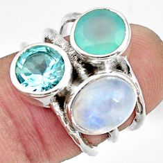 7.89cts natural rainbow moonstone chalcedony topaz 925 silver ring size 6 r26920