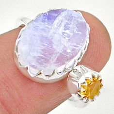 6.89cts natural rainbow moonstone citrine silver adjustable ring size 5 t43516