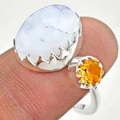 7.22cts natural rainbow moonstone citrine silver adjustable ring size 7 t43500