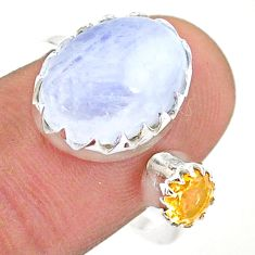 6.83cts natural rainbow moonstone citrine silver adjustable ring size 8 t43519