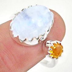 6.83cts natural rainbow moonstone citrine silver adjustable ring size 7.5 t43512
