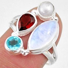 10.78cts natural rainbow moonstone garnet pearl 925 silver ring size 7.5 r63969