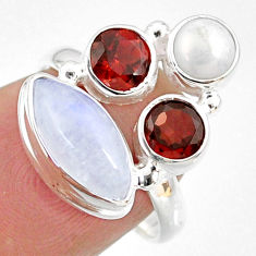 9.18cts natural rainbow moonstone garnet pearl 925 silver ring size 6 r63954
