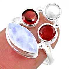 8.73cts natural rainbow moonstone garnet pearl 925 silver ring size 7 r63918