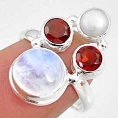 8.77cts natural rainbow moonstone garnet pearl 925 silver ring size 7 r63949