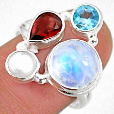 9.96cts natural rainbow moonstone garnet pearl 925 silver ring size 8 r63959