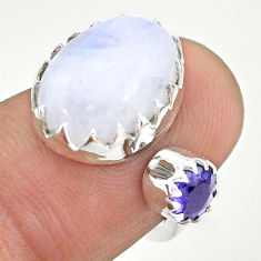 7.22cts natural rainbow moonstone iolite silver adjustable ring size 5 t43526