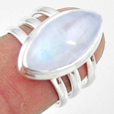 8.81cts natural rainbow moonstone marquise silver solitaire ring size 6 r47405